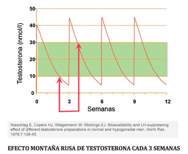 Testosterona-y-Andropausia. Efecto montaña rusa de tostesterona cada 3 semanas
