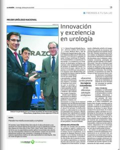 """Premio """"A tu Salud"""" del diario La Razón al """"Mejor Urólogo Nacional"""" en el año 2015 en relación a la Innovación en Urología en el tratamiento de las enfermedades urológicas."""